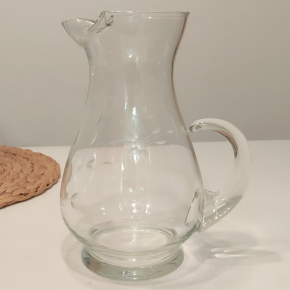 Princess House Etched Pitcher, vintage
